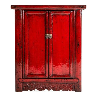 Chinese Red Lacquer Cabinet With a Pair of Doors For Sale