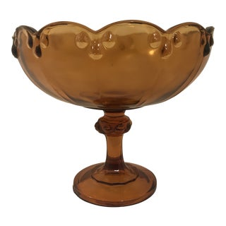 1960s Vintage Indiana Company Amber Glass Compote For Sale