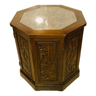 1940s Antique Asian Carved Wood Cabinet For Sale