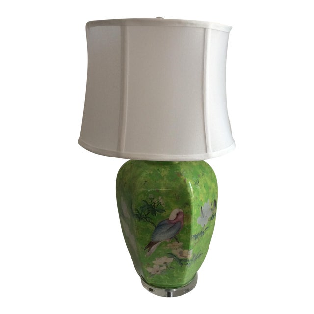 Reverse Painted Decoupage Lamp On Lucite Base For Sale