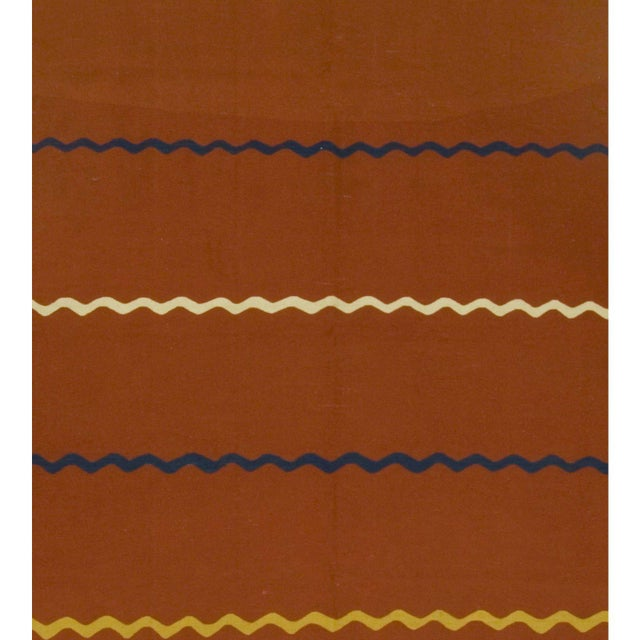 Vintage Turkish kilim handwoven in the 1940s. Colors: brick red/multi.