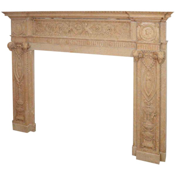 Edwardian Carved Sienna Marble Mantel - Image 1 of 3