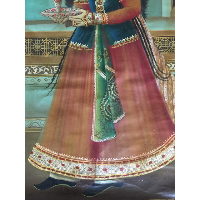 Antique Early 20th Century Persian Qajar Tea House Oil Painting on Canvas For Sale - Image 9 of 12