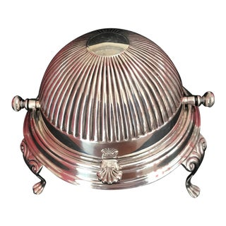 1920s English Traditional Sheffield Silver Plate Domed Butter Server For Sale