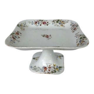 Footed Floral Porcelain Pedestal Cake Serving Platter For Sale
