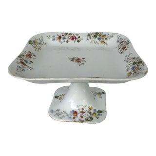 Footed Floral Porcelain Pedestal Cake Serving Platter For Sale