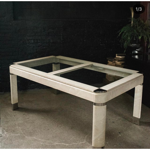 1980s Modernist Lacquered Ivory Parchment Skin, Chrome & Glass Extendable Dining Table For Sale - Image 11 of 13