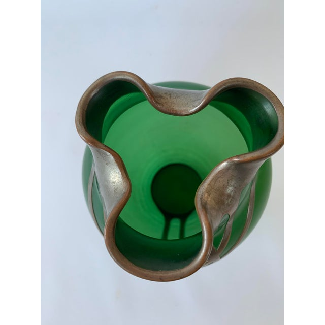 Antique Art Nouveau Emerald Green Vase With Silver Overlay and Jewel For Sale In New York - Image 6 of 8