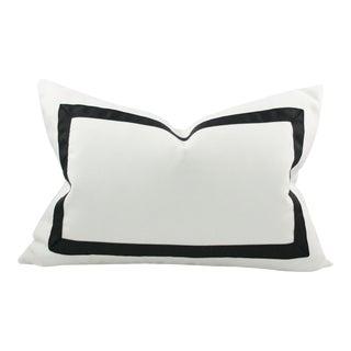 Solid White Grosgrain Ribbon Border Pillow Cover 10x18