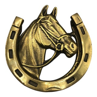 1930s Vintage English Equestrian Horse Door Knocker For Sale