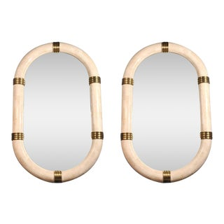 Pair of Stone Veneered Racetrack Mirrors by Maitland-Smith, Ltd. For Sale
