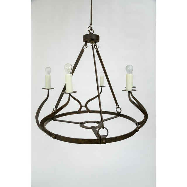 1980s Rustic Iron Wavy Armed Chandelier For Sale - Image 5 of 11