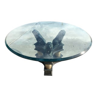 Vintage Art Nouveau Glass Coffee Table With 3 Lions Base Sculpture Signed h.v. Siefert For Sale