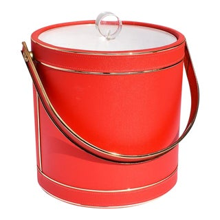 Mid-Century Red Ice Bucket With Lucite Acrylic Top With Handle and Brass Details For Sale