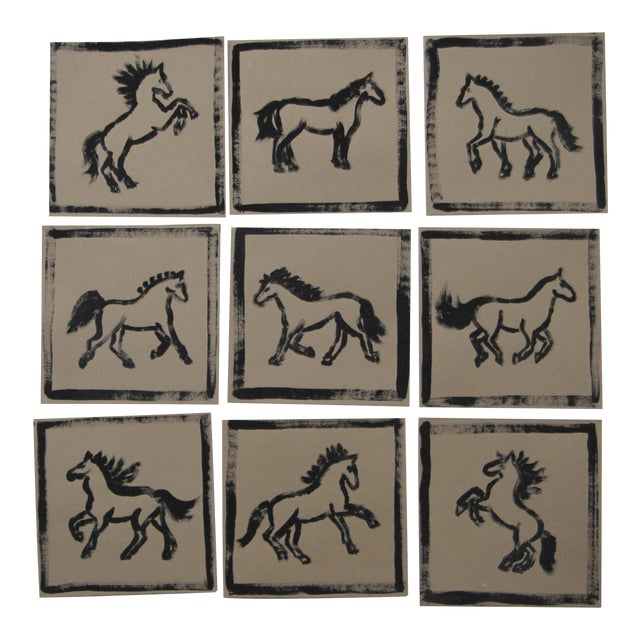 Minimalist Set of 9 Horse Paintings by Cleo Plowden For Sale
