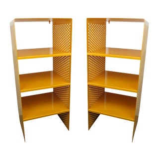 1980s Brutalist Perforated Steel Yellow Powder Coated Enamel Tall Modular Shelves - a Pair For Sale