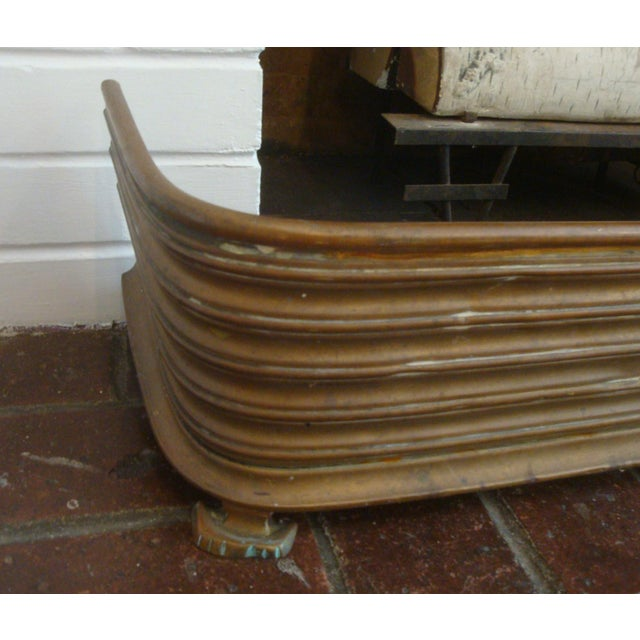 Brass Early Arts & Crafts Brass Fireplace Fender Rail For Sale - Image 7 of 9