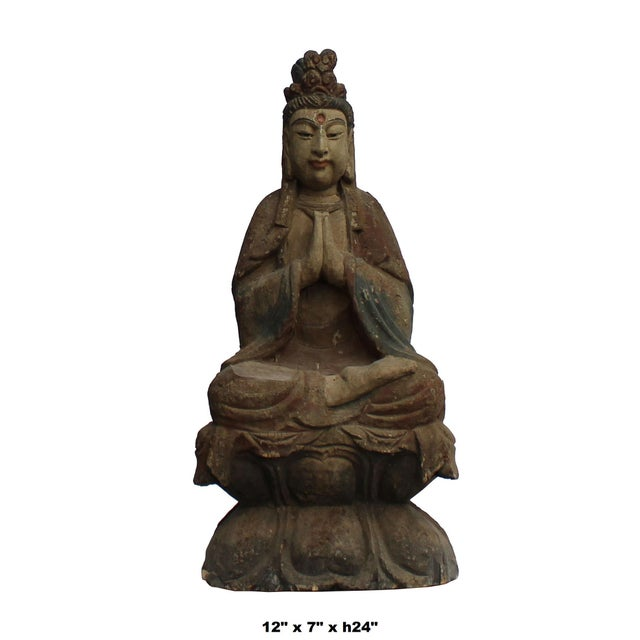This is a Chinese nicely handcrafted wooden statue of Kwan Yin Bodhisattva. It has precisely carved and vintage distressed...