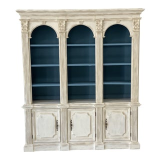 Vintage Open Shelved Painted China Cabinet For Sale