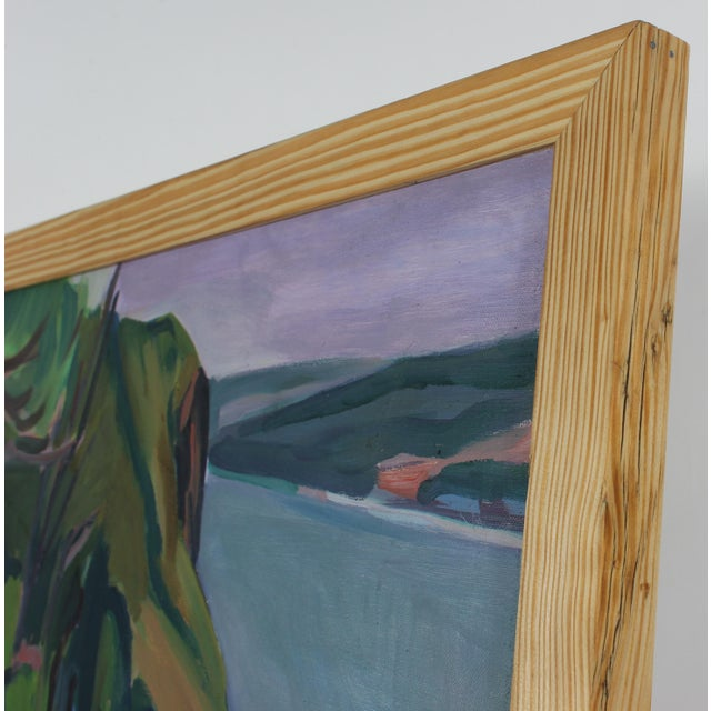 This late 20th century oil on canvas landscape of Islesboro, Maine is by Hearne Pardee or Gina Werfel, life companions and...