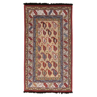 Burano Beige Gold and Red Wool Rug-4'1'x7'3' For Sale