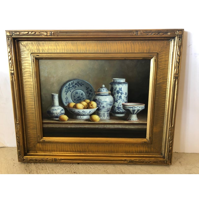 Realistic Blue and White Chinese Export Still Life Painting For Sale - Image 11 of 11