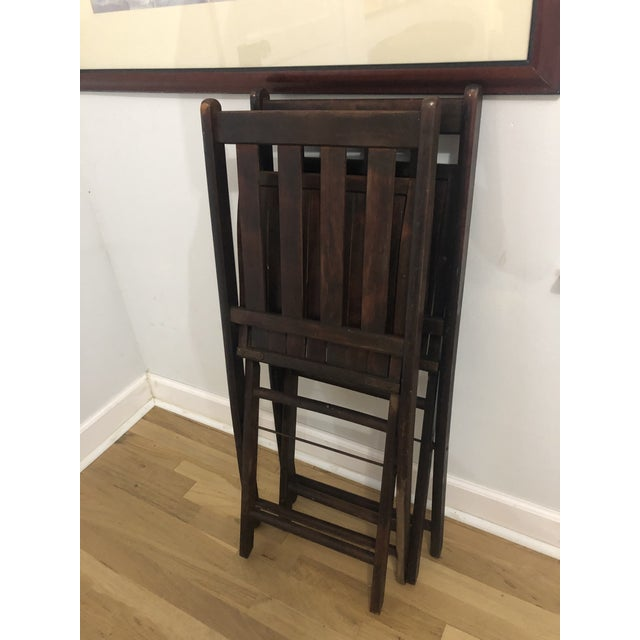 Rustic Vintage Wooden Folding Chairs - a Pair For Sale - Image 3 of 8