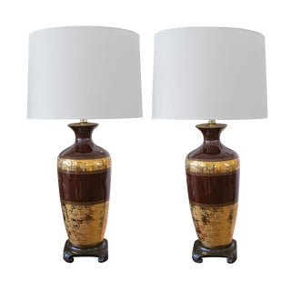 Pair of American Chocolate-Brown Ceramic Lamps W/Gilt Decoration For Sale