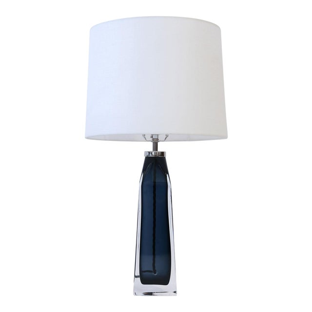 Orrefors Blue Crystal Lamp For Sale