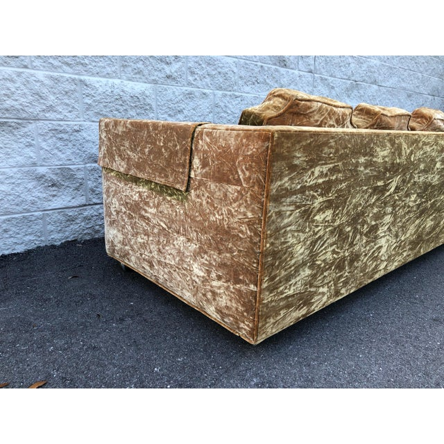 Mid Century Gold Crushed Velvet Rolling Sofa For Sale - Image 10 of 11
