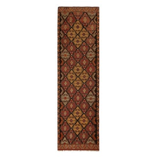 "1930's Vintage Burgundy and Brown Wool Kilim Rug-3'x10'6"" For Sale"