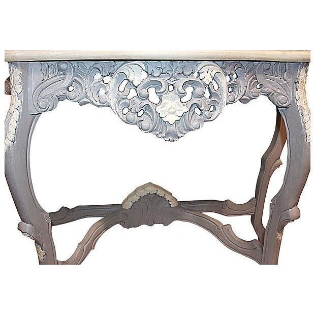 Carved Rocco-Style Marble-Top Console - Image 5 of 5