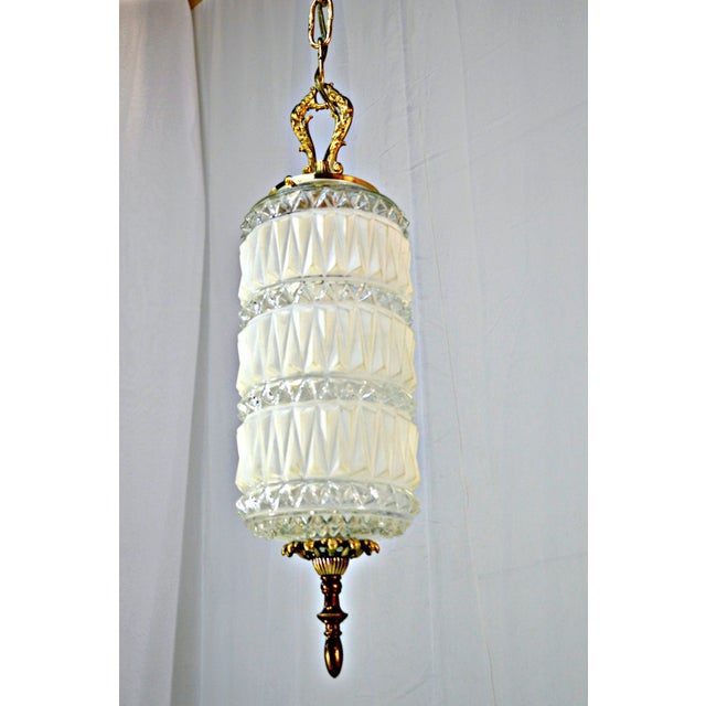 Art Deco Frosted and Clear Glass Pendant - Image 5 of 8