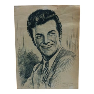 "Mid 20th Century Signed Print on Paper, ""Cornel Wilde"" by Samual Cahan For Sale"