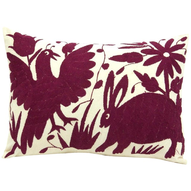Otomi Embroidered Pillow in Wine - Image 1 of 4