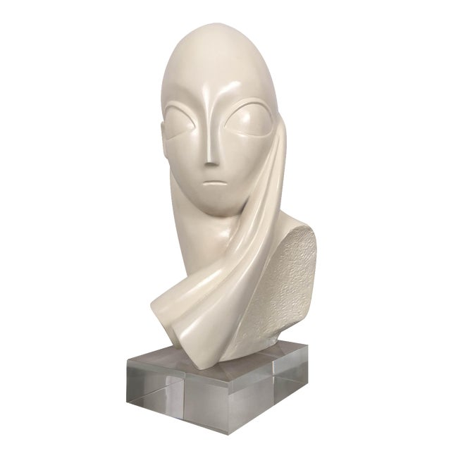 Vintage Mid-Century Alien Bust Sculpture on Lucite - Image 1 of 9