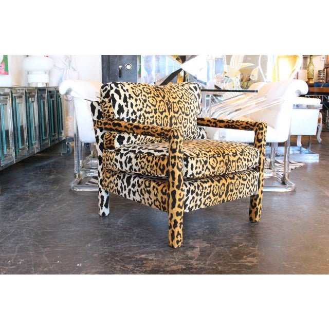 Pair of Leopard Parson Chairs in the Style of Milo Baughman, Custom For Sale - Image 11 of 13