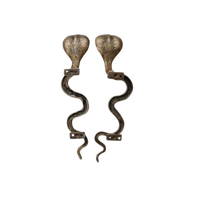 Boho Chic Large Brass Cobra Door Handles - a Pair For Sale - Image 3 of 6