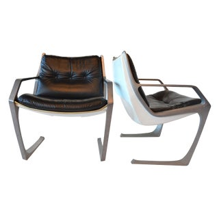 Jorge Zalszupin Black Commander Chairs Brazilian Mid Century Modern For Sale