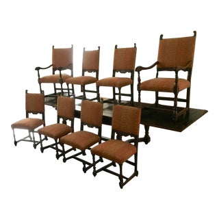 1900s Antique Jacobean Dining Chairs- Set of 8 For Sale