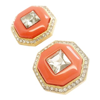 Blush Art Deco Crystal Earrings by Kenneth Jay Lane For Sale