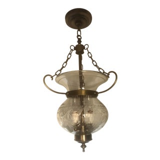 1970s Etched Crystal and Brass Chandelier For Sale