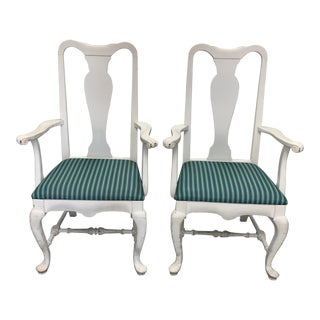 Pair of White Painted Queen Anne Armchairs by Brockschmidt & Coleman For Sale