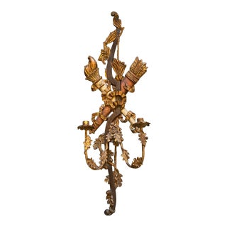 19th Century Antique Wooden 2 Lights Applique With Floral Decorations For Sale