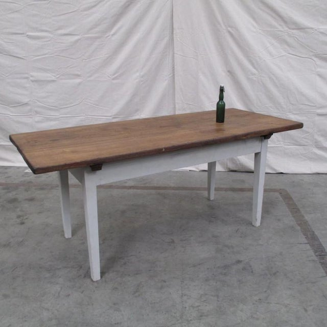 Pine Antique Danish Rustic Painted Dining Table For Sale - Image 7 of 9