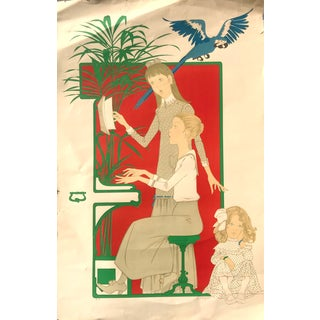 Late 20th Century Philippe Noyer Three Girls at the Piano Blue Macaw Artist Proof Lithograph For Sale