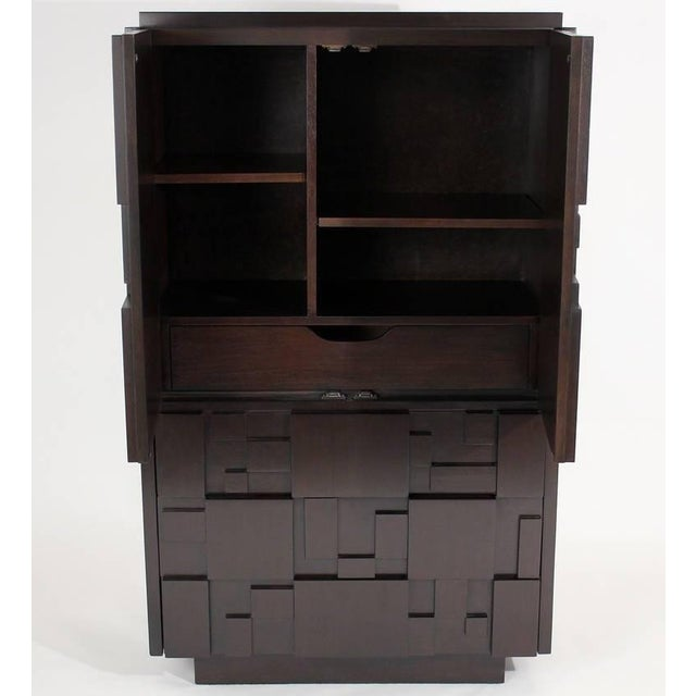 Lacquered Brutalist Tall Cabinet or Chest by Lane Furniture For Sale - Image 4 of 11