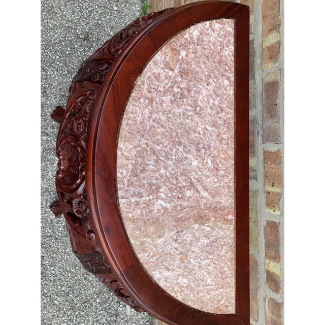 20th Century Traditional Marble Top and Carved Mahogany Demilune Table For Sale - Image 9 of 13