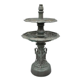 """62"""" Patinated Green Cast Aluminum Large Two-Tier Garden Water Fountain"""