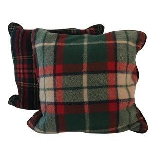 Vintage Stadium Blanket Wool Velvet Pillows - a Pair